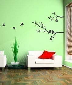 cute birds and branches decal vinyl wall decal by simpleshapes - Simple Shapes Wall Design