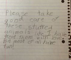 """A little girl's letter that came with her donation.  A great to reminder to """"Most of all...have fun!"""""""