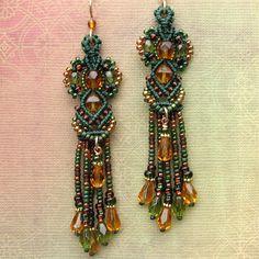 Long Beaded Earrings - Micro Macrame Beading - Macrame Earrings - Green, Amber, Gold, via Etsy.