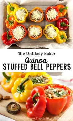 Sweet bell peppers, stuffed, cooked then baked to perfection. These quinoa stuffed bell peppers are light yet filling, very tasty and good for you! via @unlikelybaker