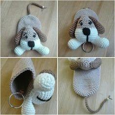 Best 12 Sil's Corner: Patroon sleutelhanger/hoesje hond – Crochet Key Cover, Love Crochet, Crochet Gifts, Crochet Baby, Knit Crochet, Crochet Keychain, Crochet Bookmarks, Crochet Amigurumi, Crochet Toys