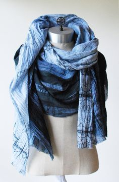 indigo shawl oversized scarf blue sarong wrap by 88editions
