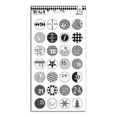 Noël Noir &amp Blanc - Planche de stickers chiffres - 15 x 26 cm