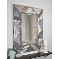Enrich your living room by selecting this amazing FirsTime Silas Salvaged Planks Mirror. Distressed white, light, dark gray and uneven plank pattern. Grey Wall Mirrors, Living Room Mirrors, Wall Mounted Mirror, Frames On Wall, Framed Wall, Mirror Mirror, Wall Art, Mirror Ideas, Mirror Shop