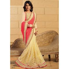 Cream & Salmon Net / Georgette Hina Khan Saree