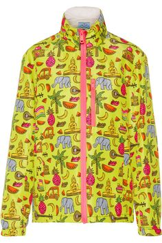Prada - Hooded Printed Silk-faille Jacket - Yellow - IT36