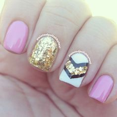 awesome nail art #nail #unhas #unha #nails #unhasdecoradas #nailart #gorgeous #fashion #stylish #lindo #cool #cute #fofo #rosa #pink #branco #white #dourado #gold