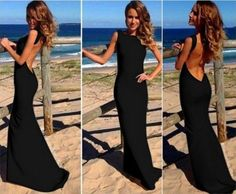 Women Sleeveless Black Sequin Sexy Backless Formal Party Long Gown Maxi Dress #unbrabded #StretchBodycon #Clubwear