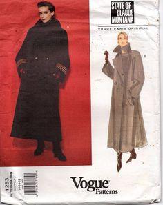 Claude Montana Vogue Sewing Pattern Coat Paris Original 1253 SZ 14-16-18 Uncut #VoguePatterns #ClaudeMontana
