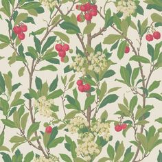 Bring bold colour to your home with this Strawberry Tree wallpaper from Cole & Son. Part of the Archive Anthology collection it features a truly majestic pattern of a blooming strawberry tree against