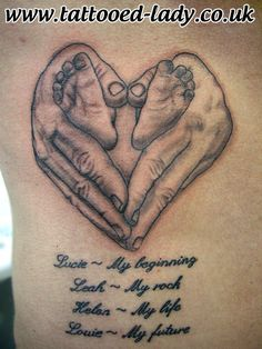 Hand heart and babies feet Tattoo by Tattooed Lady