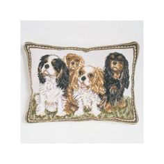 Hand Made Needlepoint Pillow With Four King Charles (hand Made Needl by The Well Appointed House $115
