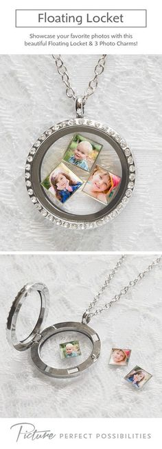 Floating Photo Necklace. This floating locket comes embellished with stones, a chain-link necklace, and three floating photo charms.