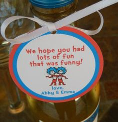 Seuss custom 2 Thank You Favor Tags for your Cookie Party Favors, Party Favor Tags, Cookie Gifts, 2nd Baby Showers, Small Mason Jars, Lord Is My Strength, Joy Of The Lord, Custom Tags, Champagne Bottles