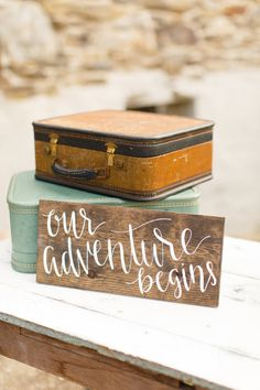 Our Adventure Begins Nursery Wood Sign and Maternity Photo Prop Hand Lettered by HeartcraftedCo