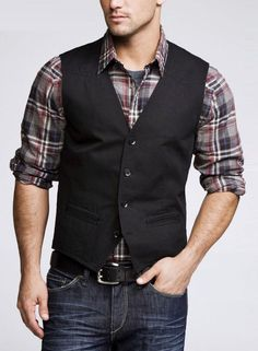 casual vest and jeans Mode Masculine, Mode Outfits, Fashion Outfits, Fasion, Fashion Ideas, Fashion Trends, Gilet Costume, Mens Fashion Blazer, Fashion Men