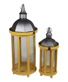 Loving this Yellow Wood & Metal Lantern Set on #zulily! #zulilyfinds