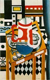 Still Life with a Beer Mug, by Fernand Leger. This artist's work moved between Cubist and Figurative, and he was an important precursor to Pop Art. Marcel Duchamp, Gif Sur Yvette, Maurice Utrillo, Pop Art, Cubist Art, Still Life Artists, Sonia Delaunay, Georges Braque, Arte Pop
