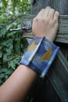 Felted Cuff Bracelet Hand Dyed Blues and Browns Ultra Fine Merino Gift for Her Cuff-011 by KarenGilesDesigns on Etsy