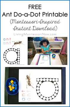 This free ant do-a-dot printable is great for fine-motor development, increasing attention span, & reinforcing letter sounds in toddlers and preschoolers.