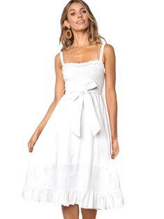Frilled Smocked Belted A Line Dress White Dresses For Women, Casual Dresses, Summer Dresses, Panel Dress, Lingerie Dress, Lace Dress Black, Button Dress, Belted Dress, No Frills