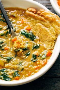 Soup Recipes, Vegetarian Recipes, Cooking Recipes, Lentil Recipes, Vegan Soups, Healthy Recipes, Vegan Meals, Delicious Recipes, Crockpot Recipes