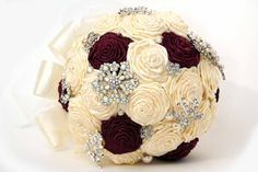 Bridal Brooch Bouquet, Ribbon Rose, ready to ship, ivory and maroon. (bright red flowers instead?)