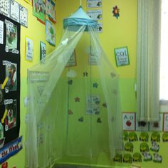 Classroom reading corner idea - I used this in my grade 2 class this year and the students loved having the privilege of sitting under the net on the carpet area for their guided reading sessions :)