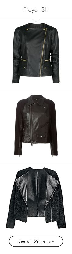 """""""Freya- SH"""" by inestrindade on Polyvore featuring outerwear, jackets, leather jacket, coats, black, asymmetrical zip moto jacket, genuine leather biker jacket, real leather jackets, asymmetrical zip jacket and rider jacket"""