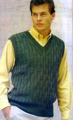 knitting for men Knitting Paterns, Lace Knitting, Knitting Designs, Mens Vest Pattern, Business Casual Dresses, Knitting Magazine, Hand Knitted Sweaters, Knit Vest, Men Sweater