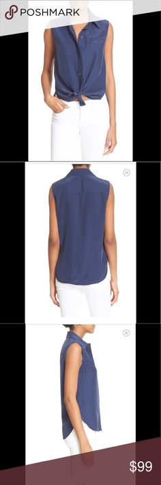 """FRAME """"Le sleeveless"""" silk top navy size M NEW A half-concealed button placket modernizes the classic styling of a relaxed silk-charmeuse blouse cut with a smart spread collar and a curved shirttail hem. 26"""" length (size Medium). Partial hidden button closure. Spread collar. Sleeveless. Chest welt pocket. 100% silk. FRAME Tops Button Down Shirts"""