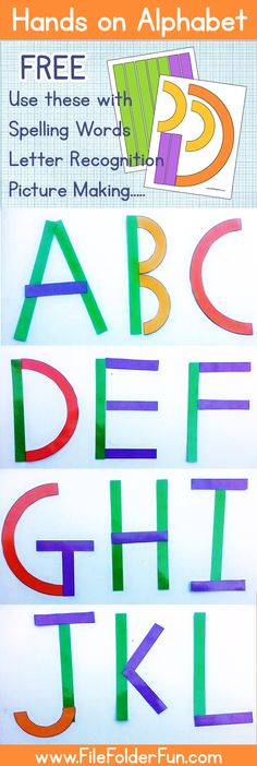Free Printable Hands on Alphabet for children learning to recognize and write their uppercase letters. Older Chidlren can use these for spelling lists. Younger children can make pictures with the shapes. http://thecraftyclassroom.com/2015/07/20/hands-on-alphabet-printables/