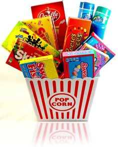 Sweet Treats Movie Night Popcorn & Candy Gift Set (Deluxe Family Movie Night for 5-8)