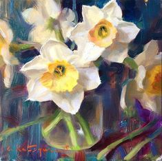 "Daily Paintworks - ""Sky Daffodils"" - Original Fine Art for Sale - © Elena Katsyura"