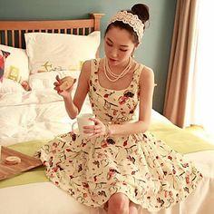 Floral Print Dress plissada da Mulher – EUR € 20.29