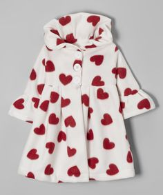 White & Red Hearts Coat - Toddler & Girls by Beary Basics #zulily #zulilyfinds