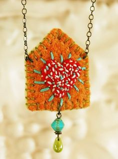 Saturday Stitches: happy house felt necklace with beads, embroidery