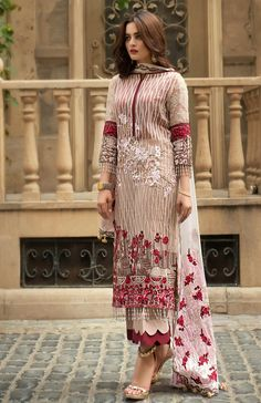 Beige palazzo kameez with dupatta. Work - Heavy embroidery work on kameez and dupatta. Matching bottom and dupatta comes with this. Beautiful Pakistani Dresses, Pakistani Formal Dresses, Pakistani Dress Design, Pakistani Outfits, Pakistani Gharara, Pakistani Casual Wear, Pakistani Dresses Online, Pakistani Designers, Pakistani Actress