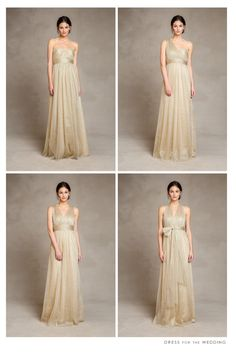 Gold Bridesmaid Dresses by Jenny Yoo convert to several different necklines