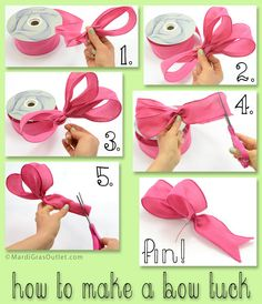 How to make a bow tuck to add into wreaths, floral arrangements, and crafts! Deco Mesh Wreaths, Wreath Bows, Ribbon Wreath Tutorial, Burlap Wreaths, Bow Tutorial, Cemetery Flowers, Diy Bow, Holiday Wreaths, How To Make A Bow With Ribbon