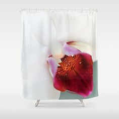 White & Red Orchid Flower Bathroom Shower by InLightImagery