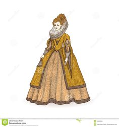 Vector Vintage Sketch Illustration. Gentlewoman Elizabethan Epoch 16th Century. Medieval Lady In A Rich Dress With Large - Download From Over 57 Million High Quality Stock Photos, Images, Vectors. Sign up for FREE today. Image: 84528264