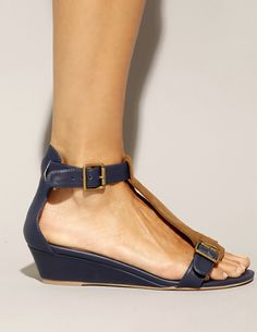 Navy two tone mini wedge sandals [Jec8945] - $88