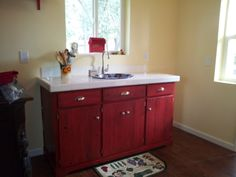 KItchen area in small cottage, cabinet made from old fence boards. Old Fence Boards, Bathroom Updates, Old Fences, Cabinet Making, Martini, Vanity, Cottage, Kitchen, Woodworking