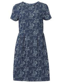 Tall Midwash Print Denim Dress