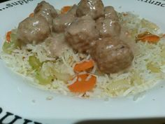 Ikea chicken meatballs and rice - carrots / celery / onion fried in butter. Add dill, salt, white pepper, pinch of all spice and mix with leftover Basmati rice. Sauce - flour / milk / yoghurt / chicken stock / cranberry sauce / vodka. Cook until thickened then heat ikea chicken meatballs and add to sauceto cook for a few minutes until thick.