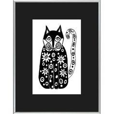 Folk Art Cat Print Black and White Illustration Kids Tweens Teens Wall Art Home Decor @Cindy Goss- Columbia