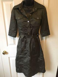 Karen Millen Khaki Safari Trench Dress UK8   eBay