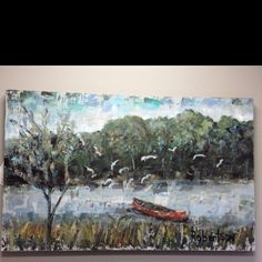"Love this painting by Sarah Robertson! She donated it to the Oxford Heart Ball. Titled ""red canoe"""