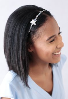 "A selection of stars is the highlight of this Hairband complete with crystal aurora borealis. Available for a limited time or while supplies last.    Download the  Stylist Marketing Pack  for this product.              Plating: Nickel      Glass, Elastic      Beaded Length: 16inches/40.5cm      Removable adjustable comfort elastic band              Elastic Color: Available in Black, Blonde, Brunette, or Silver      Elastic Length Standard: 4-5"" (10-13 cm), up to 6.5"" stretched ..."